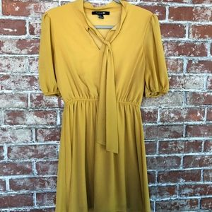 Forever 21 M Mustard color Tie Dress